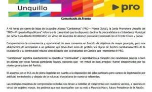 Comunicado de Prensa Pro Unquillo